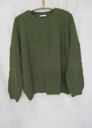 Тёплый свитер с ажурной вязкой/батал uk 22/54-56 р