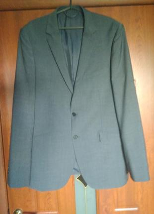 Однотонный пиджак 100% шерсть m&s