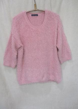 Тёплый пушистый свитер травка/батал