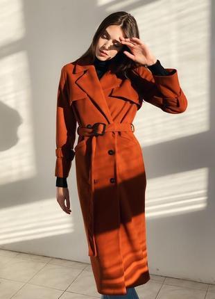 Крутое пальто тренч, 100% шерсть