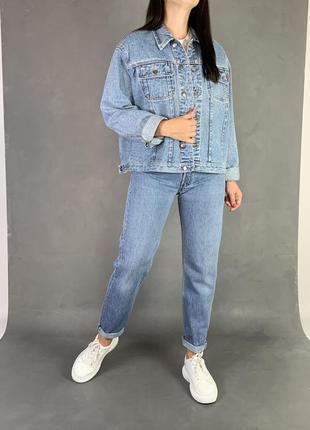 Куртка джинсовая обьемная/винтаж /джинсовка naf-naf