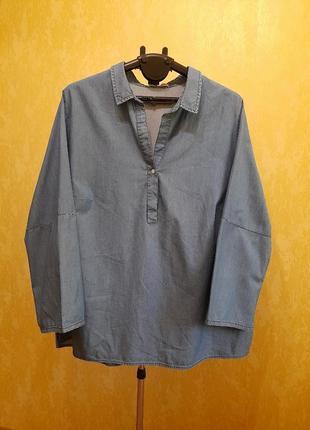 Джинсовая блуза-рубашка мега батал