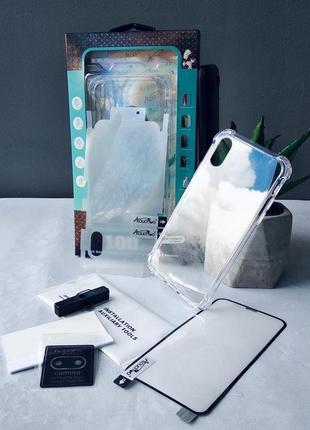 Набор 4в1 для айфон чехол прозрачный iphone x/xs/xr/xsmax/11/11pro/11promax