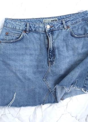 Базовая джинсовая юбка, необработанный низ,denim, актуальная