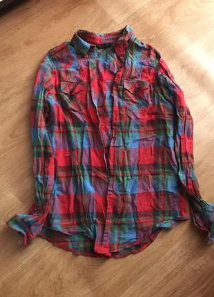 Рубашка в клетку красная