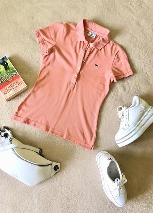 Оригинальная футболка поло lacoste, оранжевого цвета