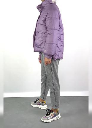Объёмная куртка пуховик оверсайз лаванда / био-пух куртка 2020!