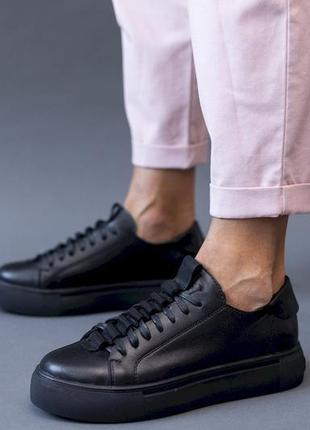 Натуральные кожаные кеды черного цвета с 36-39