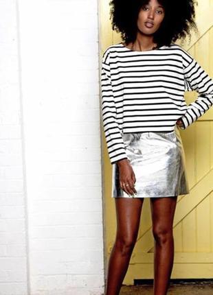 Шикарная серебристая юбка размер 8