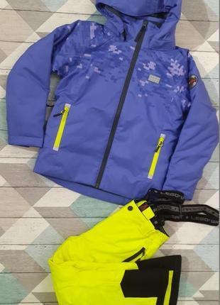 Детский зимний горнолыжный костюм раздельный комбинезон lego wear для девочки р.104-110