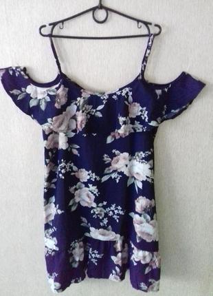 Шикарное свободное платье с воланами и открытыми плечами 12-14