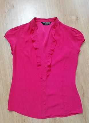 Шикарная красная шёлковая блуза на пуговках, 100% шёлк