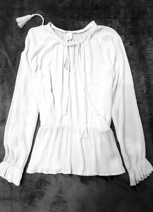 H&m рубашка сорочка белая блуза блузка 40