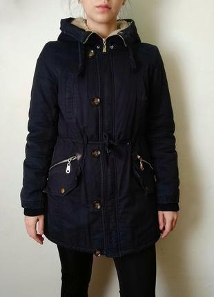Пальто парка синее с капюшоном демисезон зима