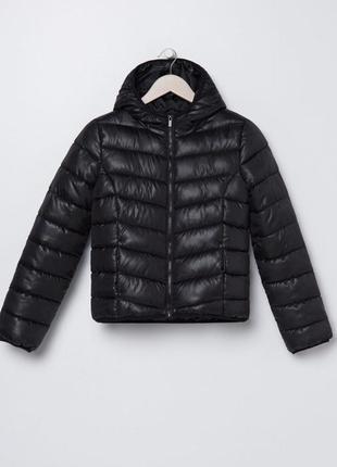 Скидка только 18.09 ❗ ликвидация❗ базовая чёрная стёганая куртка с капюшоном дутая дутик