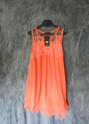 ✅ яркое платье шифон плисе с воланом из сетки и вышивкой кислотно оранжевое