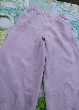Лляные бежевые юбка брюки