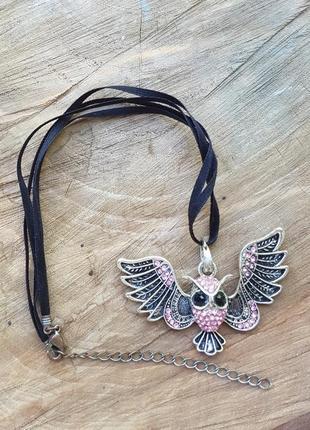 Кулон сова на шнурке