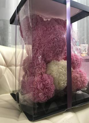 Мишка из бархатных роз 40 см