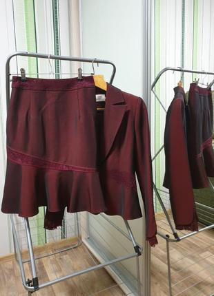Костюм классический 4ка топ брюки юбка пиджак жакет