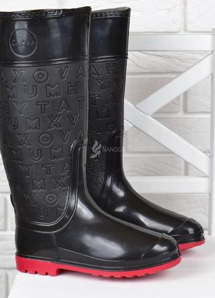 Резиновые сапоги женские высокие xo model черные красная подошва