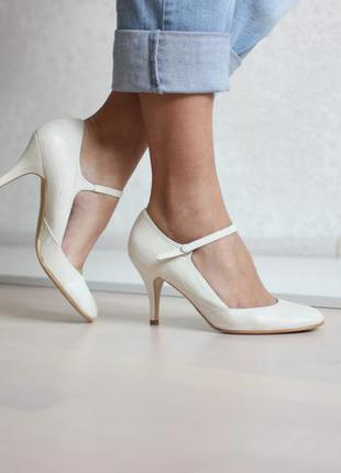 Кожаные белые туфли с ремешком, натуральная кожа, бренд faith