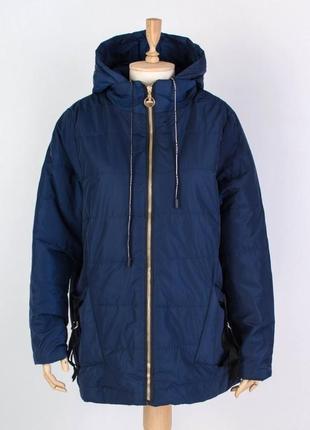 Женская синяя куртка курточка плащ пуховик большой размер