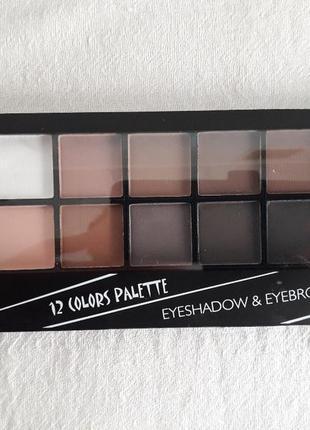 Тени dodo girl eyeshadow & eyebrow palette 12 цветов