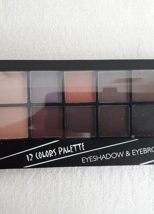 Тени dodo girl eyeshadow & eyebrow palette 12 цветов.