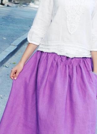 Лиловая юбка  миди лен вискоза смл