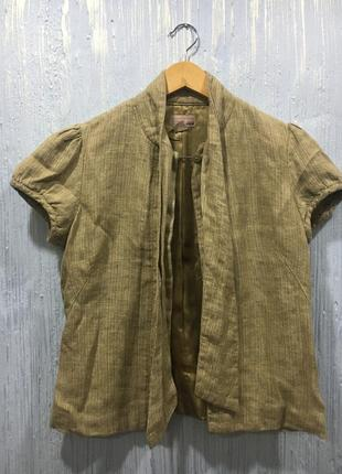 Лляной пиджак h&m с коротким рукавом
