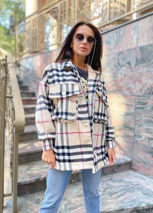 Рубашка клетка 🔝свободного кроя кардиган, рубашка пальто кашемир +шерсть