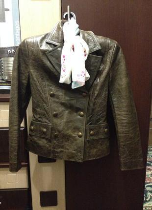 Кожаная куртка с эффектом  потертости