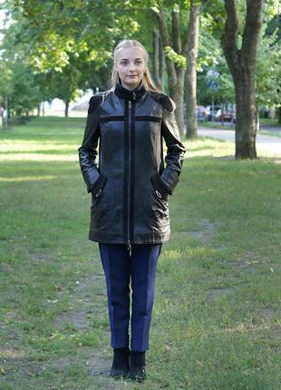 Удлинённая кожаная курточка 80 см турция