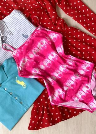 Яркий сдельный неоновый малиновый/розовый купальник
