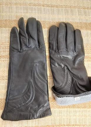 Перчатки, кожа. утепленные. размер 7 3/4.