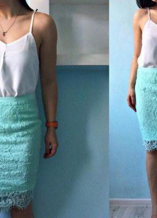 Бирюзовая юбка кружево