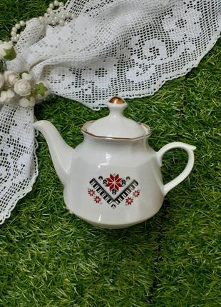Чайник заварной рижский фарфор ссср деколь позолота