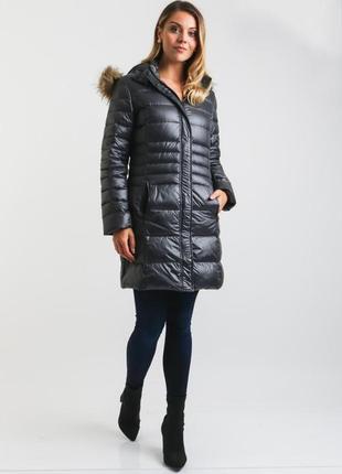 Frieda freddies пуховик теплая куртка с мехом пальто длинный пуховик гусиный пух!