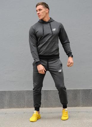 Темно-серый мужской спортивный костюм new balance (нью беленс)