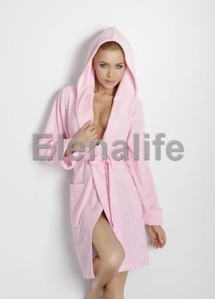 Розовый махровый халат dkaren inga