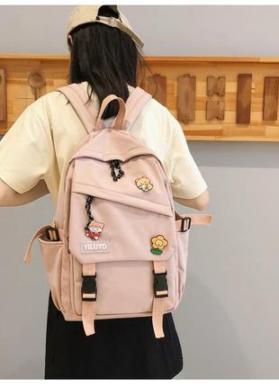 Рюкзак в корейском стиле унисекс для ноутбука учебы в расцветках розовый пудровый