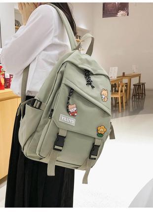 Рюкзак в корейском стиле унисекс для ноутбука учебы в расцветках хаки