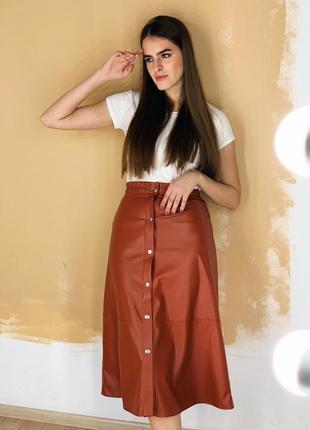 1631.    кожаная коричневая юбка миди