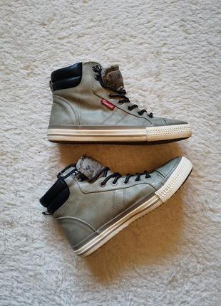 Кожаные кеды топсайдеры хайтопы экокожа venice 38 размер ботинки спортивные