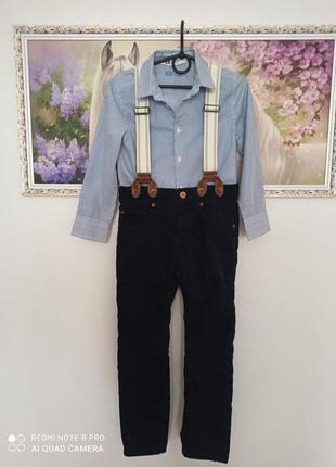 Шикарниe штанишки на подтяжках и рубашечка от h& m h&m