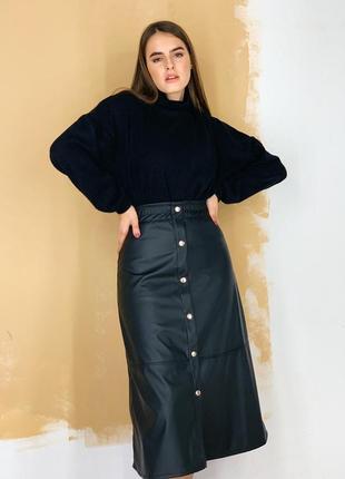 1631.    черная кожаная юбка миди