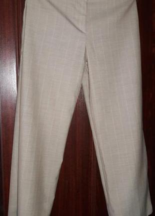 Базовые брюки штаны кюлоты в полоску бежевые брюки