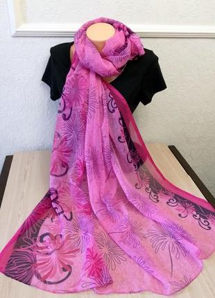 Большой палантин парео шарф платок розовый индия