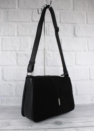 Мягкая, вместительная сумка gilda tohetti 60488-1 черная с замшевой вставкой